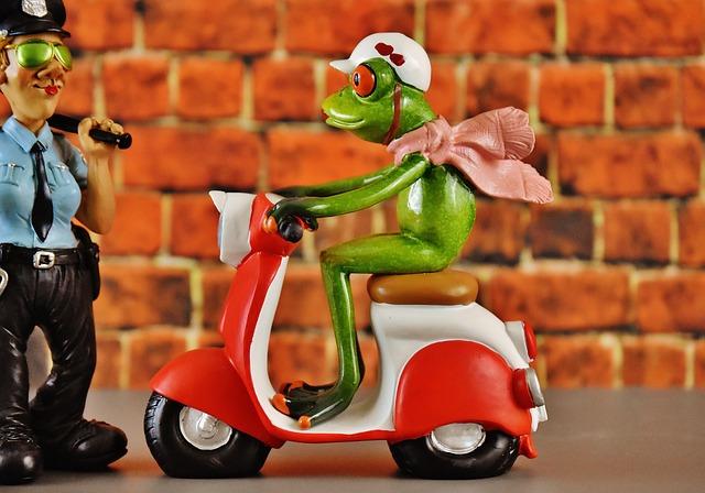 Vespa, Roller, Police, Frog, Figure, Funny
