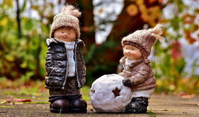 Children, Boy, Girl, Play, Figures, Funny, Cute, Cold