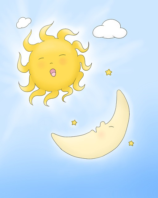 Cute, Funny, Laughter, Sun, Moon, Half-moon, Crescent
