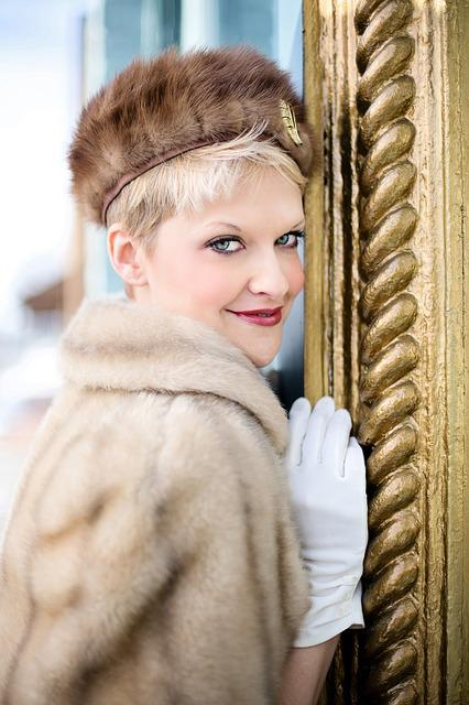 Vintage, Winter, Fur, Blonde, Pretty Young Woman, Retro