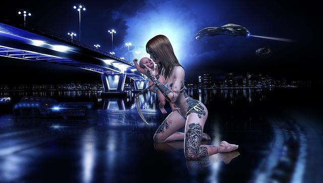 Dark, Woman, Baby, Futuristic, Fantasy, Composing