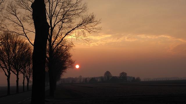 Sunset, Fuzzy, Nature, Sun, Drenthe