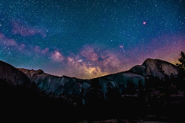 Night, Dark, Galaxy, Star, Mountain, Shooting Star