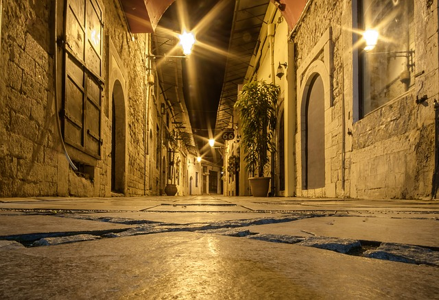 Gallery, Path, District, Road, Night, Greece, Lights