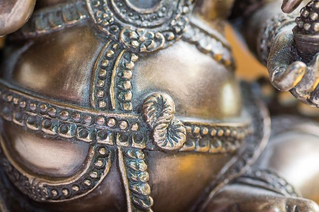 Ganesha, Golden, Ornament, Detail, Close, Pattern
