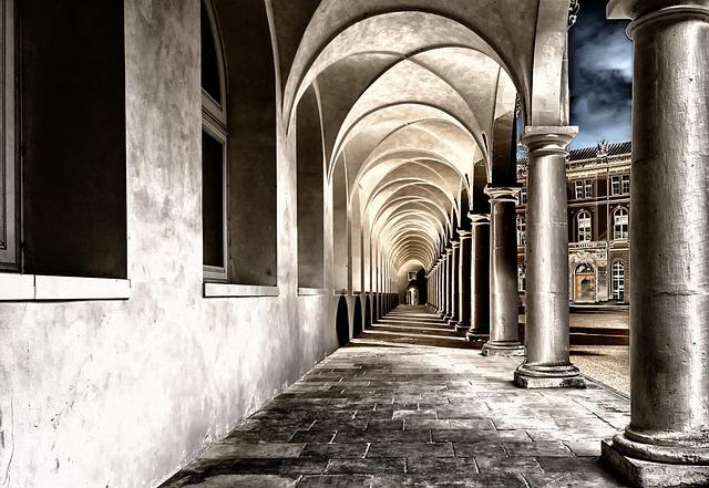 Cloister, Monastery, Courtyard, Dresden, Gang, Vault