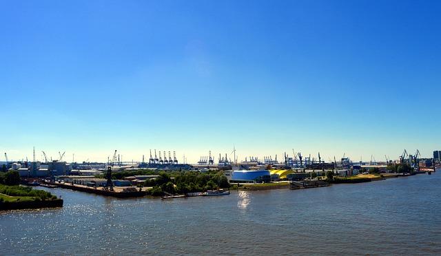 Hamburg, Port, Hamburg Port, Elbe, Gantry Cranes