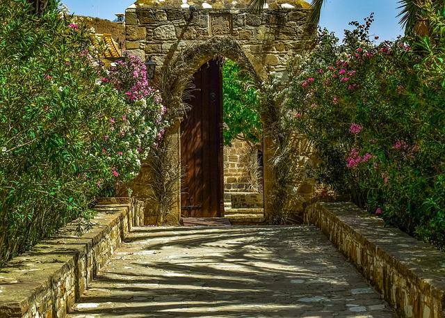 Monastery, Entrance, Architecture, Garden, Gate