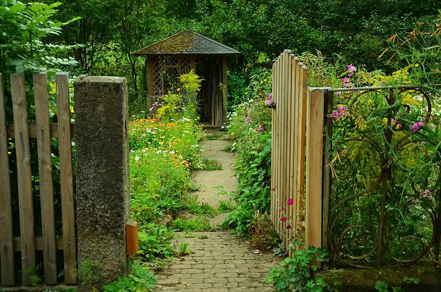 Garden, Garden Door, Cottage Garden, Garden Gate