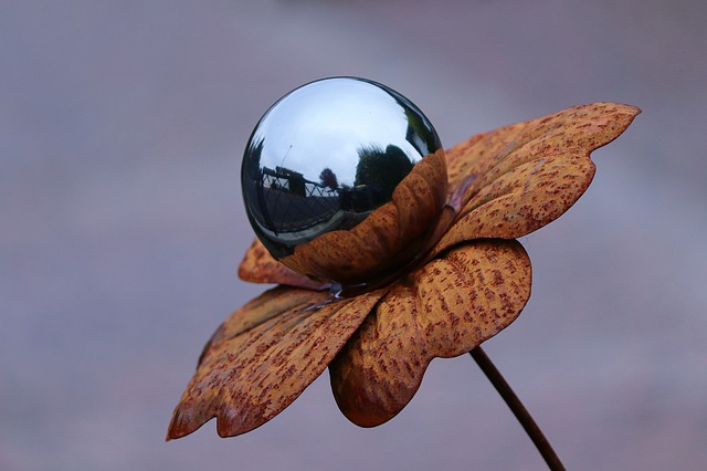 Glass Ball, Metal, Brown, Garden, Garden Decoration