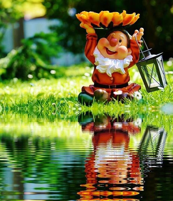 Garden Gnome, Dwarf, Lantern, Water, Bank, Mirroring