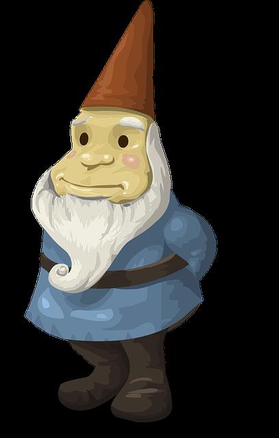 Gnome, Garden, Dwarf, Beard, Hat, Old, Man, Cartoon