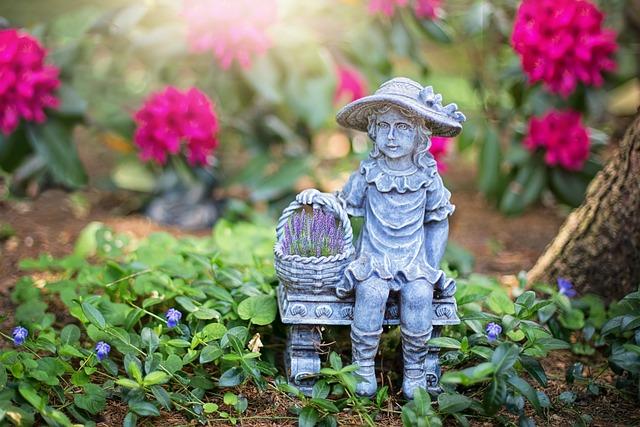 Garden, Gardening, Statue, Garden Statue, Flowers