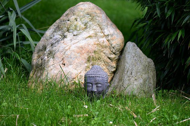 Head, Buddha, Stone, Hidden, Garden