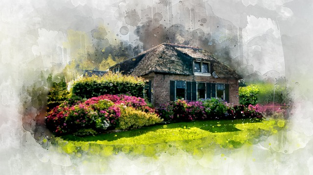 Home, Garden, Watercolor, House, Gardening, Lifestyle