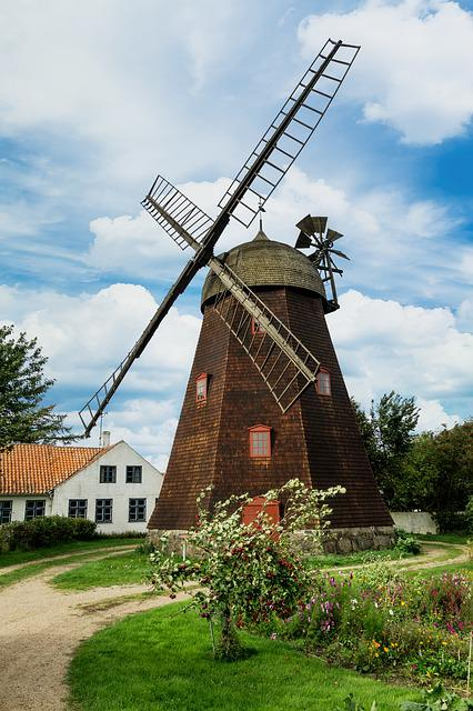 Windmill, Clouds, House, Garden, Trees, Tower Windmill