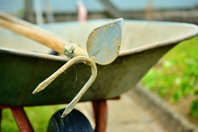 Hoe, Wheelbarrow, Gardening, Faceplate, Cart