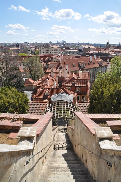 Prague, Gardens Under The Castle, Roofs, Old Town