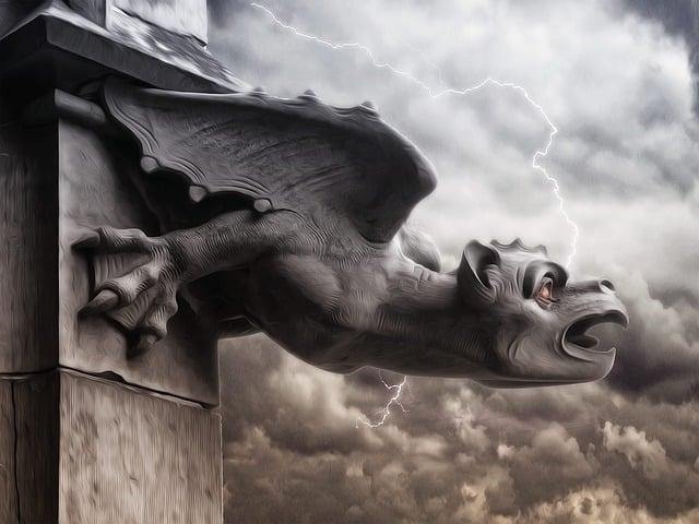Gargoyle, Storm, Storm Ray, Grey Sky, Dark, Gothic