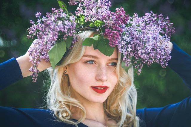Girl, Spring, Lilac, Flowers, Portrait, Wreath, Garland
