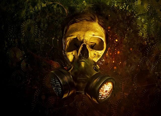 Gas Mask, Gas, Mask, Skull, Gears, Dark, Scifi