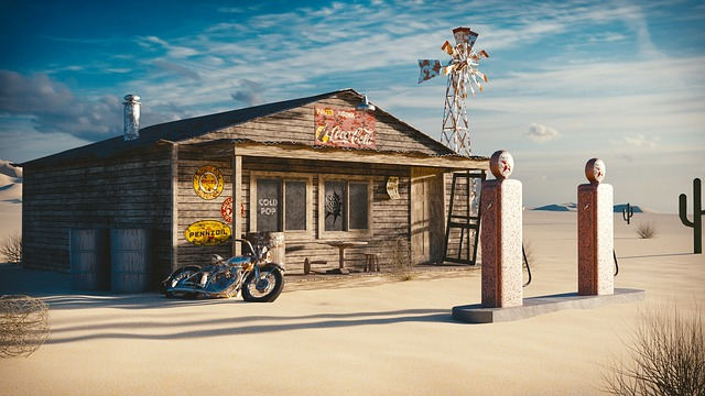 Gas Station, 1950s, Blender, Gas, Vintage, 50s