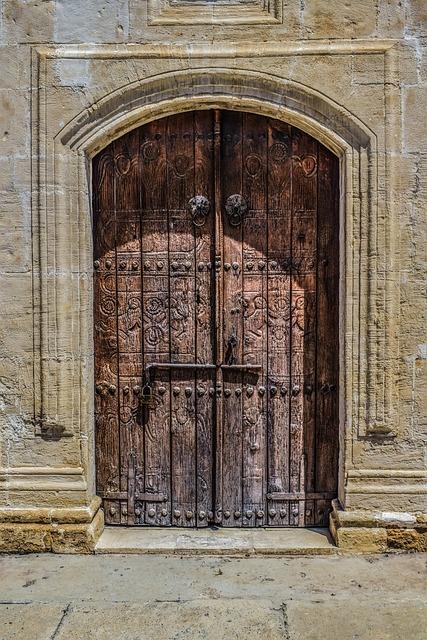 Cyprus, Athienou, Ayios Georgios, Door, Wooden, Gate
