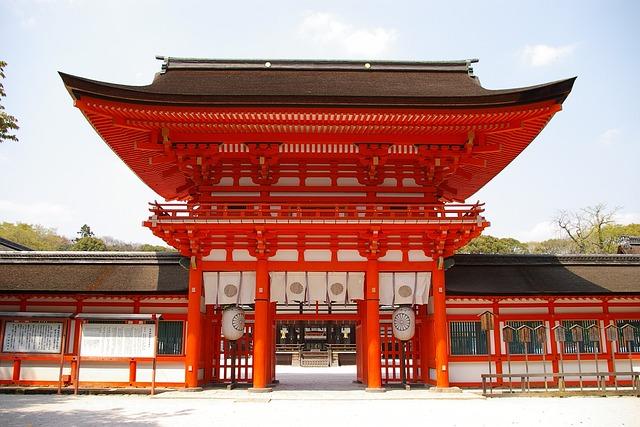 Japan, Kyoto, Shimogamo Shrine, Shrine, Gate, Vermilion