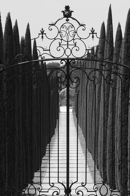 Port, Gateway, Cypresses, Trees