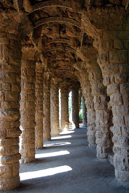 Columns, Gallery, Gaudí, Barcelona, Spain, Garden