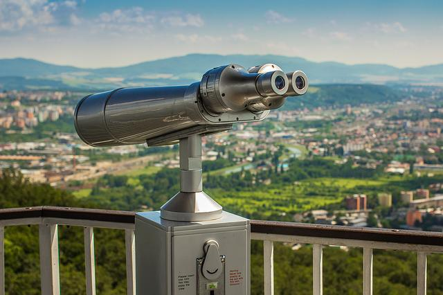 Binoculars, Gazebo, Panorama, City, Height