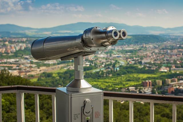 Binoculars, Gazebo, Panorama, City, Height
