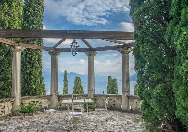 Villa Cortine, Gazebo, Sirmione, Architecture, Summer