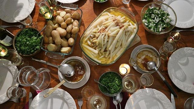 Asparagus, Table, Potato, Gedeckter Table, Hollandaise