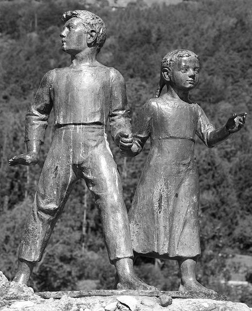 Human, Alpine, Statue, Heidi And Peter, Geissenpeter