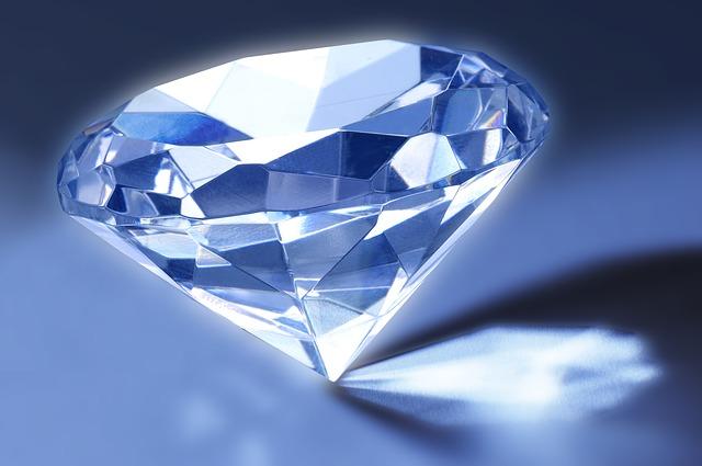 Diamond, Gem, Refraction, Facets, Crystal, Blue
