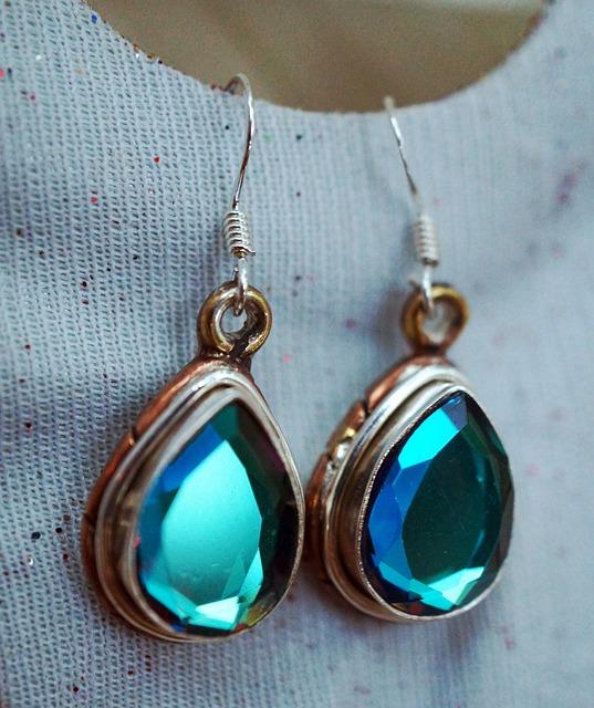 Glass, Copper Sterling Silver, Earrings, Stone, Gem