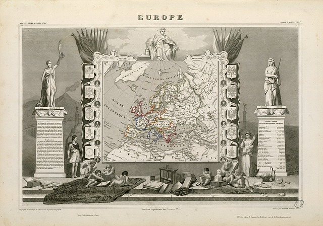 Europe, Map, Old, Pressure, Geography, History, Drawn