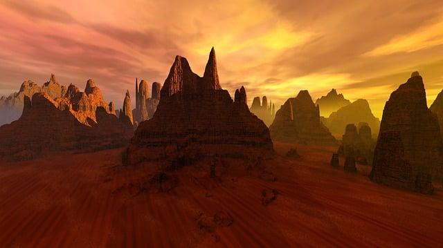 Desert, Mountains, Sunset, Rock Formations, Geology