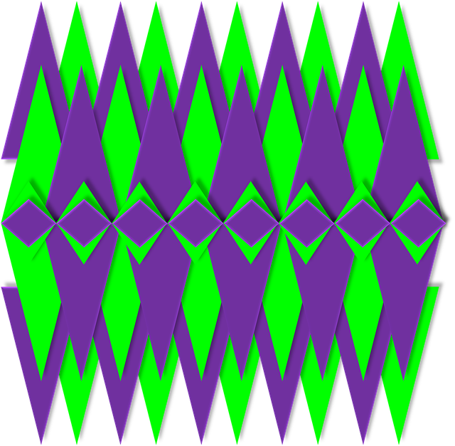 Geometric, Graphic, 3d, Violet, Lime, Chartreuse