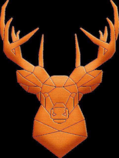 Geometrical Deer, Deer Head, Glitter, Cardstock Paper