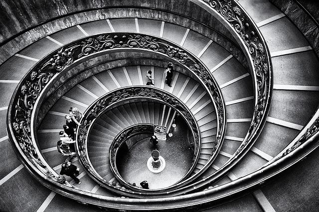 Vatican, Staircase, Rome, Stairway, Stairs, Geometry