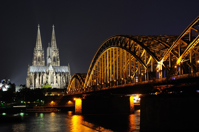Night Scene, Cologne, Germany, Rhine, Water, Bridge