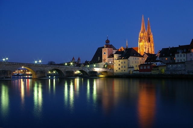 Regensburg, Germany, City, Urban, Night, Evening
