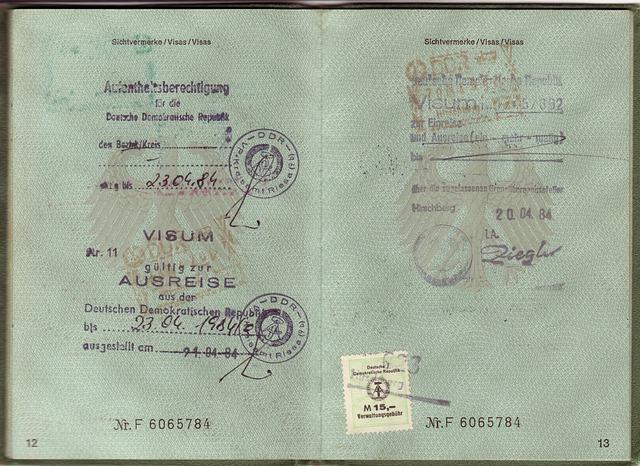 Passport, Visa, Ddr, Federal Republic Of, Germany