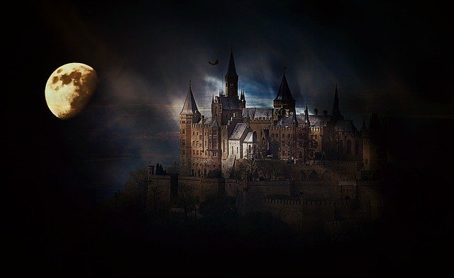 Castle, Fortress, Hohenzollern Castle, Germany, Moon