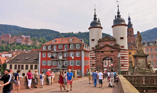 Germany, Heidelberg, City Gate, Old Town, Bridge