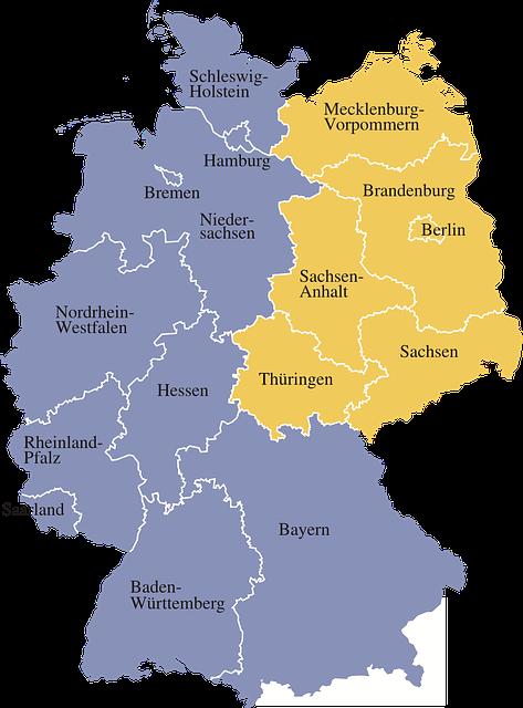 Map, Germany, Regions, Germany Map