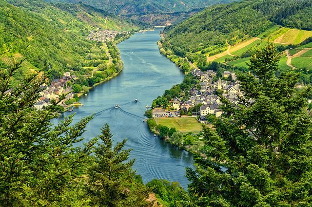 Mosel, View, River, Vineyards, Sachsen, Germany