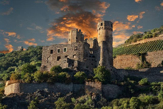 Germany, Rhine, Castle, Shipping, Ehrenfels